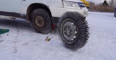 Russischer Bastler ersetzt Winterreifen durch Nägel