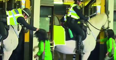 Frau schlägt Polizei-Pferd