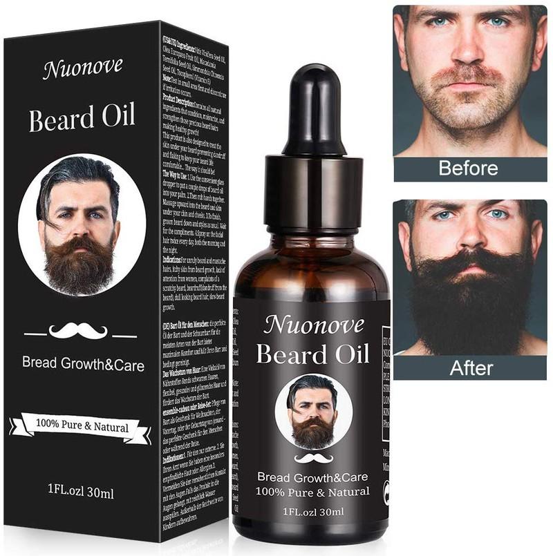Wenn Männer zu wenig Bart haben, dann können sie das Bartöl auf dem Foto anwenden und einen volleren Bart erhalten