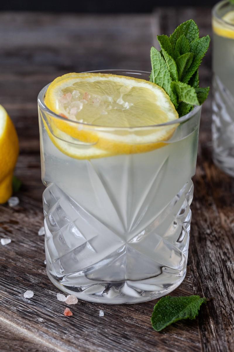 Ein gut gekühlter Gin mit Zitrone darin